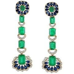 Emerald Blue Sapphire Diamond 18 Karat Gold Earrings