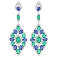 Emerald Blue Sapphire Diamond 18 Karat Gold Peacock Earrings