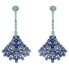 Emerald Blue Sapphire Fan Diamond Earrings