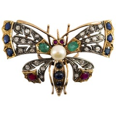 "Emerald Blue Sapphire Ruby Pearl Diamond Yellow Gold ""Butterfly"" Cocktail Ring"