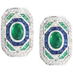 Emerald, Blue Sapphire with Diamond Earrings Set in 18 Karat White Gold Setting