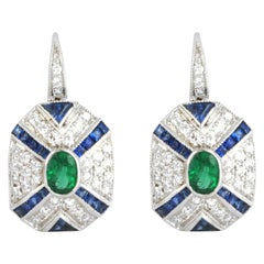 Emerald, Blue Sapphire with Diamond Earrings Set in 18 Karat White Gold Settings