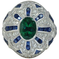 Emerald, Blue Sapphire with Diamond Ring in 18 Karat White Gold Settings