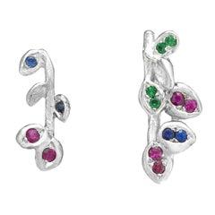 Emerald Blue Sapphires Rubies White Gold Stud Earrings