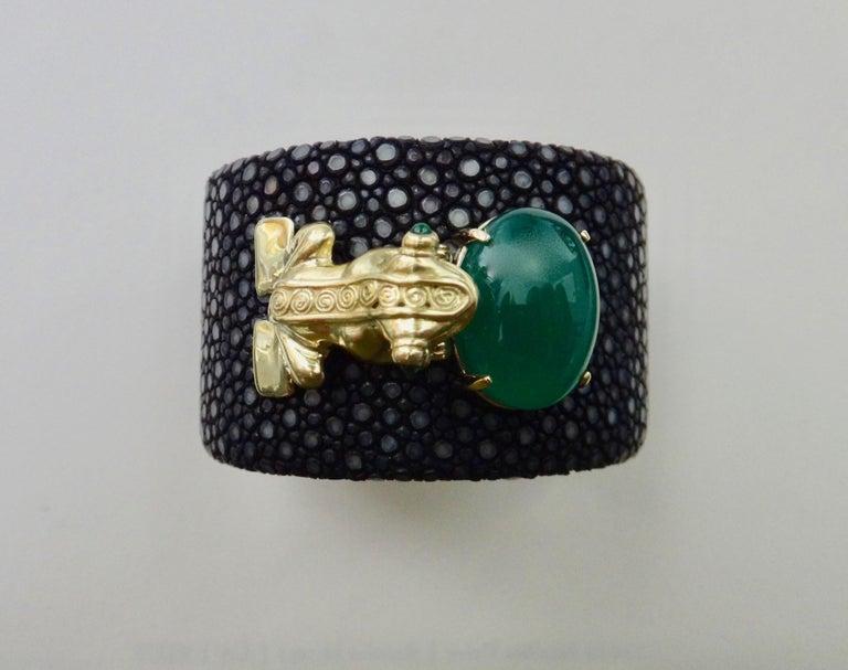 Emerald Botswana Agate Stringray 18 Karat Gold