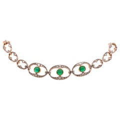 Emerald Cab and Diamond Belle Époque Collier de Chien and Bracelet, 1910s