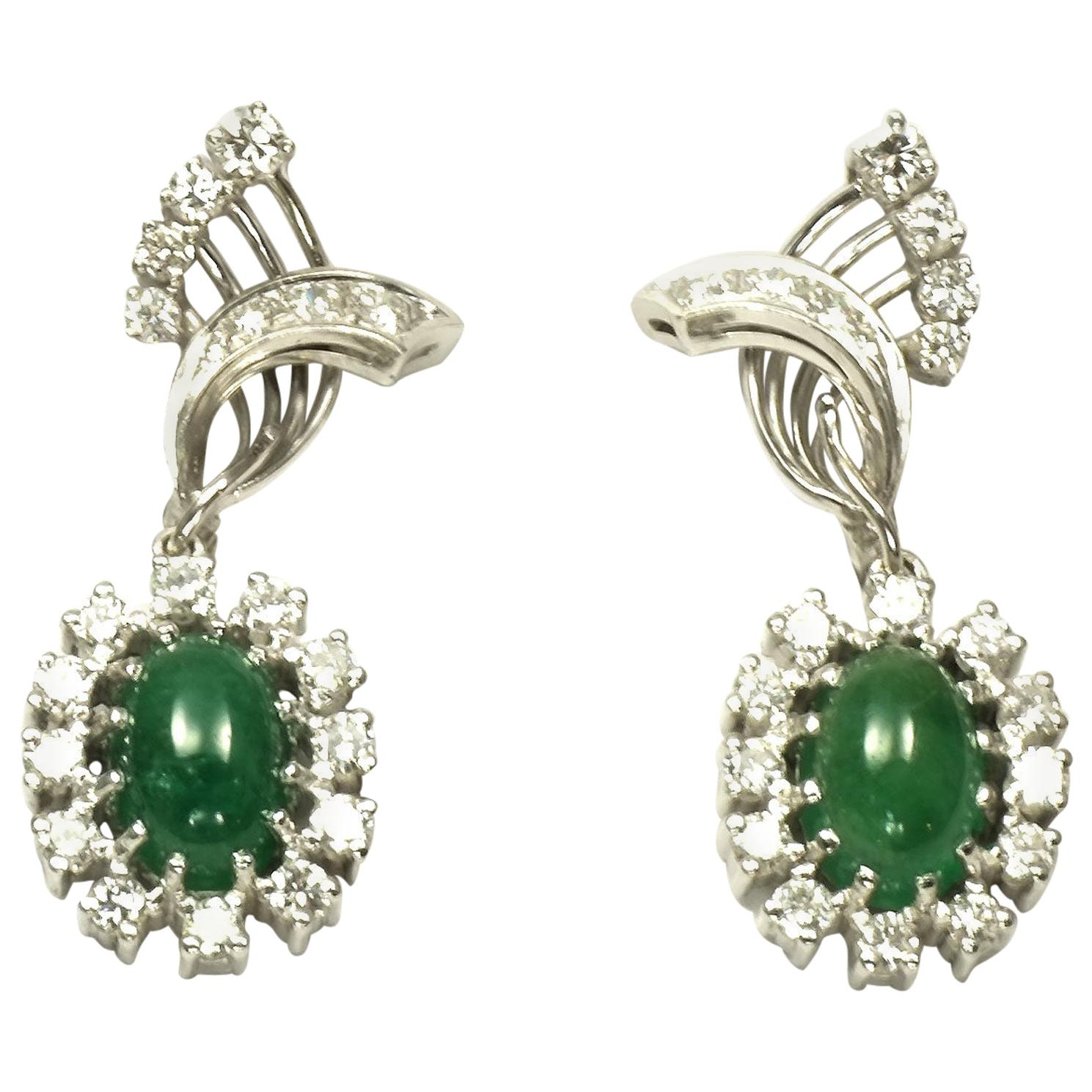 Emerald Cabochon and 2.6 Carat Diamond Clip-On Drop Earrings in 18 Karat Gold