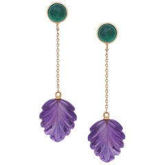 Emerald Cabochon and Amethyst Carved Leaves Earrings Handmade in 18K Yellow Gold
