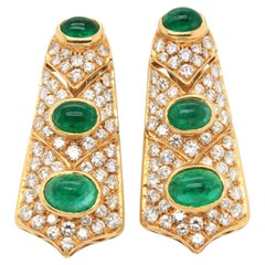 Emerald Cabochon and Diamond Earrings, 1960s