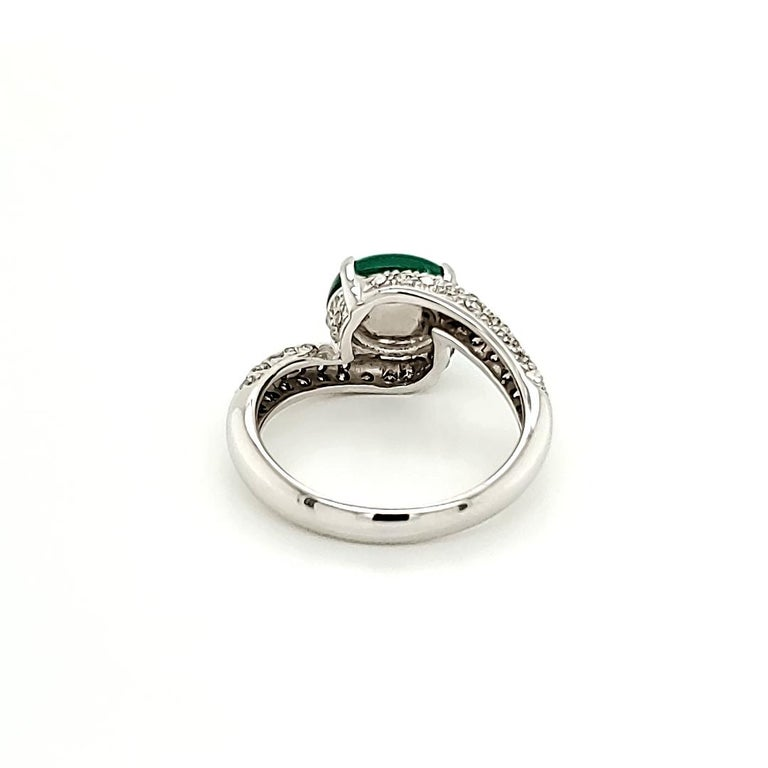 Contemporary Emerald Cabochon and Diamond Ring For Sale