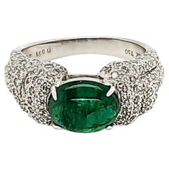 Emerald Cabochon and Diamond Ring