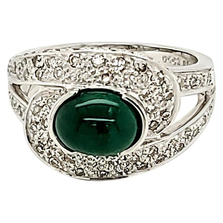 Emerald Cabochon and Diamond Ring For Sale