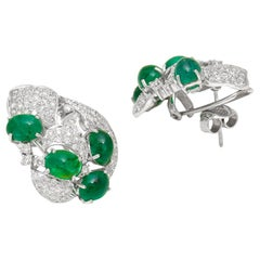 Emerald Cabochon and Diamond Stud Earrings in 18 Karat White Gold