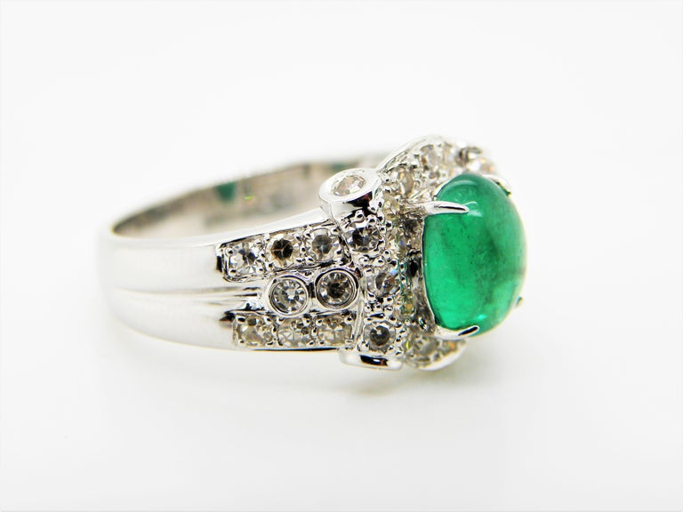Contemporary Emerald Cabochon and Diamond White Gold Engagement Ring For Sale
