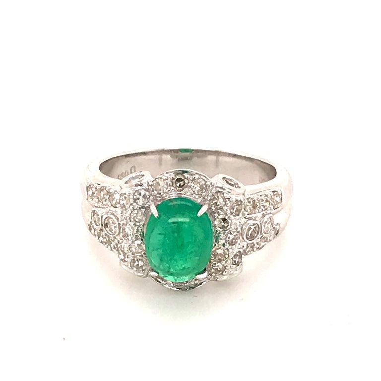 Women's or Men's Emerald Cabochon and Diamond White Gold Engagement Ring For Sale