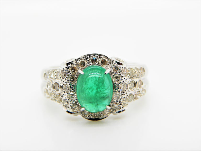 Emerald Cabochon and Diamond White Gold Engagement Ring For Sale 1