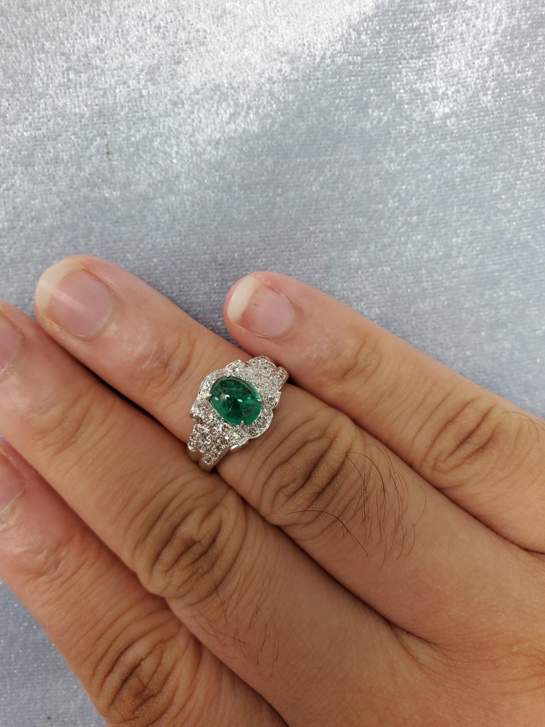 Emerald Cabochon and Diamond White Gold Engagement Ring For Sale 2