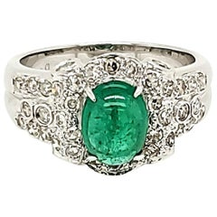 Emerald Cabochon and Diamond White Gold Engagement Ring