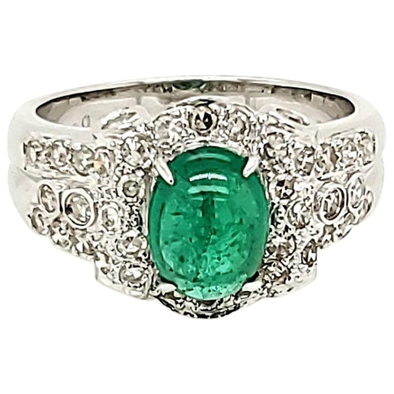 Emerald Cabochon and Diamond White Gold Engagement Ring For Sale