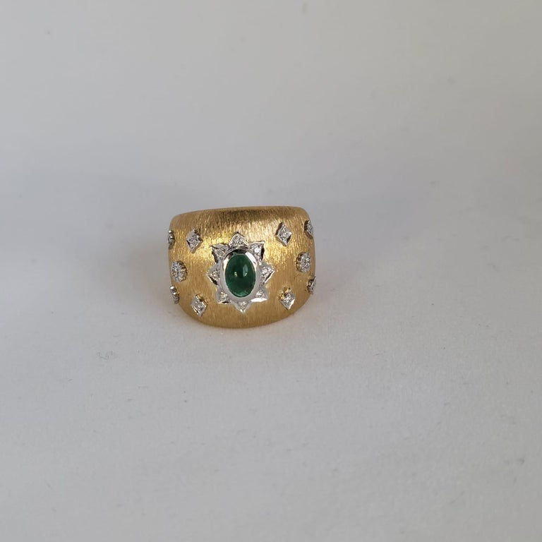 Modern Emerald Cabochon Art Deco Cocktail Ring with Diamonds 18K in Florentine Finish