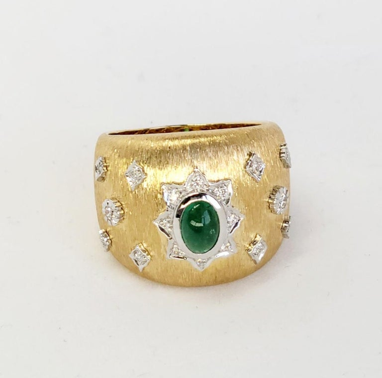 Emerald Cabochon Art Deco Cocktail Ring with Diamonds 18K in Florentine Finish 2