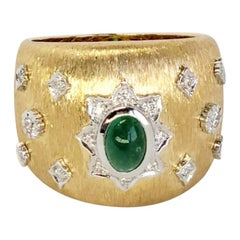Emerald Cabochon Art Deco Cocktail Ring with Diamonds 18K in Florentine Finish