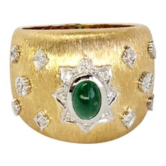 Emerald Cabochon Art Deco Style Ring with Diamonds 18K in Florentine Finish