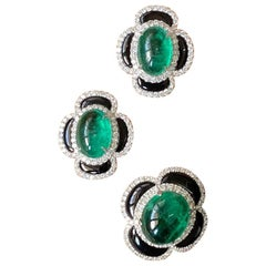 Emerald Cabochon, Black Onyx and Diamond Earring and Ring Suite