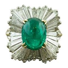 Emerald Cabochon Diamond Gold Ballerina Ring