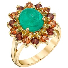 Emerald Cabochon, Golden Tourmaline & Garnet Halo Yellow Gold Cocktail Ring