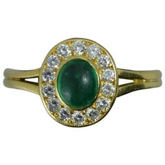 Emerald Cabochon Vs1 Diamond 18 Carat Gold Cluster Ring