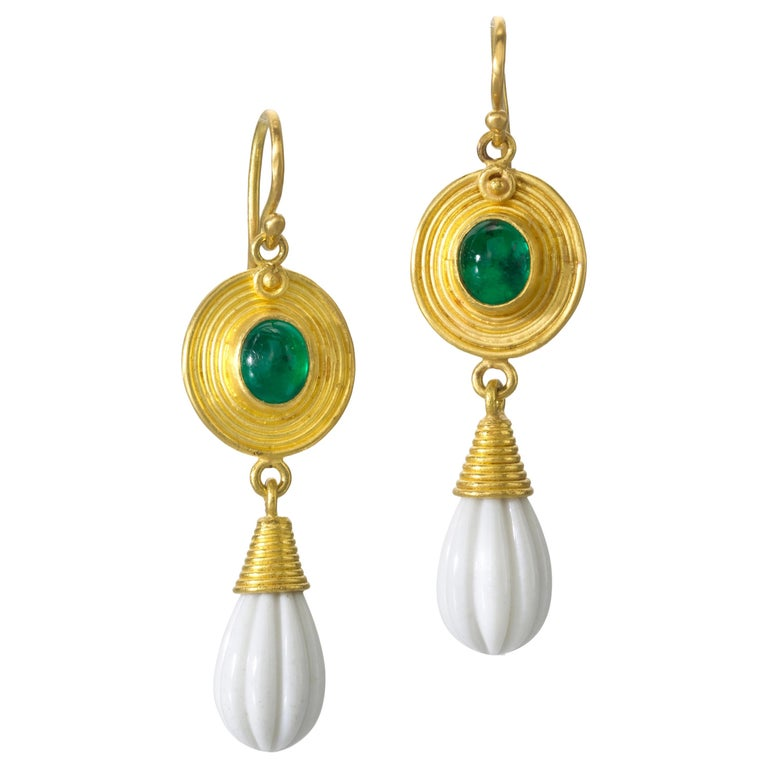Emerald Cachalong 22 Karat 20 Karat Earrings For Sale