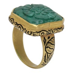 Emerald Carved Cabochon Ring in 22 Karat Gold with Black Enamel Work