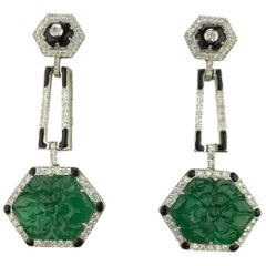 Emerald Carving, Diamond and Black Enamel Dangling Earrings