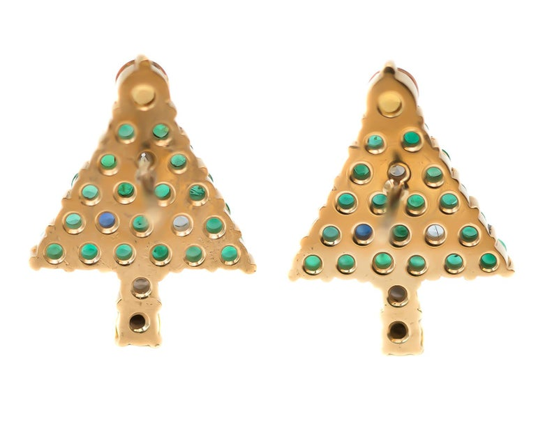 1970s Emerald Christmas Tree Stud Earrings - 14 Karat Yellow Gold, Emeralds, Diamonds, Sapphires, Citrine  Features: 2.0 carat total weight Gemstones 14 Karat Yellow Gold Custom Made Design Citrine Tree Topper Sapphire Ornaments and Trunk Diamond