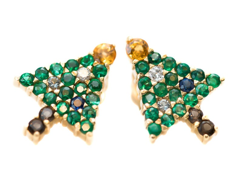 Contemporary Emerald Christmas Tree Earrings with Diamond, Sapphire, Citrine, 14 Karat Gold For Sale