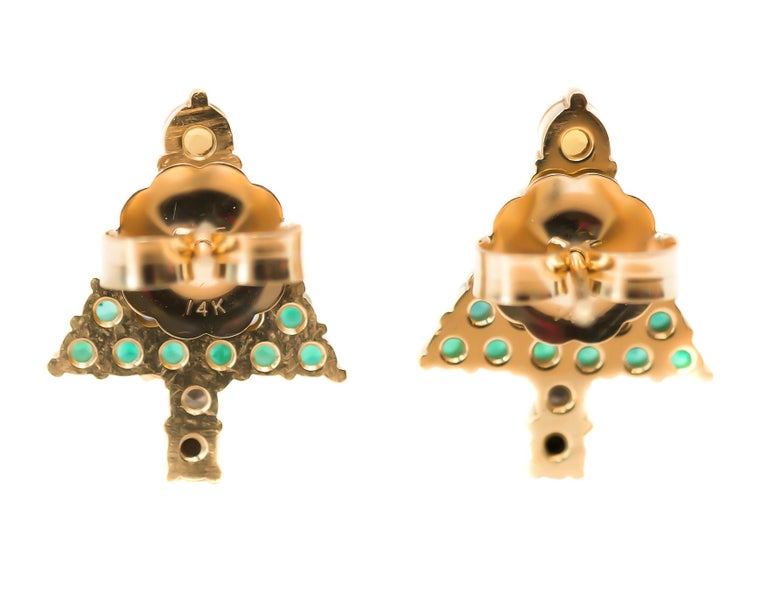 Round Cut Emerald Christmas Tree Earrings with Diamond, Sapphire, Citrine, 14 Karat Gold For Sale