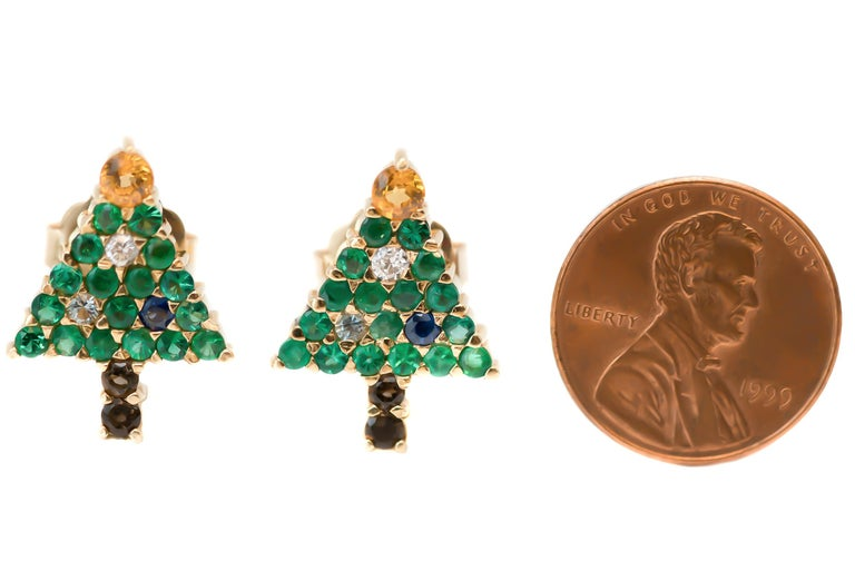 Emerald Christmas Tree Earrings with Diamond, Sapphire, Citrine, 14 Karat Gold In Good Condition For Sale In New York, NY