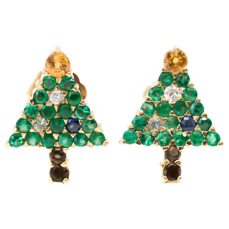 Emerald Christmas Tree Earrings with Diamond, Sapphire, Citrine, 14 Karat Gold For Sale