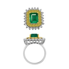 Emerald Classic Cocktail Ring with Yellow and White Diamonds