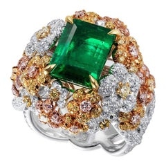 Emerald Cluster Ring with White, Fancy Pink and Fancy Yellow Diamonds