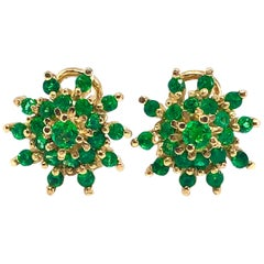 Emerald Cluster Yellow Gold Earrings