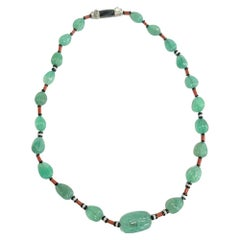 Emerald Coral Diamond Bead Necklace