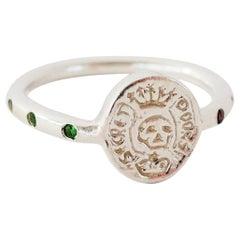 Emerald Crest Signet Skull Ring Memento Mori Style Silver J Dauphin