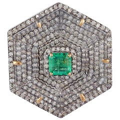 Emerald, Crystal and Diamond Ring in Victorian Style