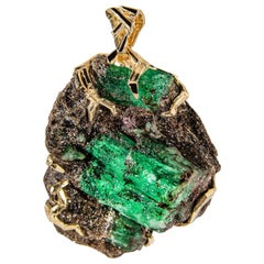 Emerald Crystal Gold Pendant Big Green Beryl 14 Karat Gold Necklace Christmas