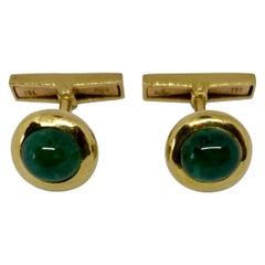 Emerald Cufflinks in 18 Karat Yellow Gold by Adler of Geneva