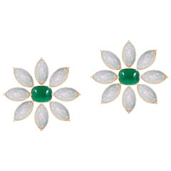 Emerald Cushion Cab and Marquise Opal Flower Earring