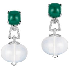 Goshwara Emerald Cushion Cab and Moon Quartz Bead With Diamond Earrings