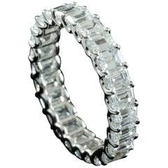 Emerald Cut 0.15 Carat Each Diamond Eternity Ring in 18 Karat Gold